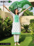 3 PCs White Cotton Lawn Green Computer Embroidery Applique Style Suits With Chiffon Dupatta