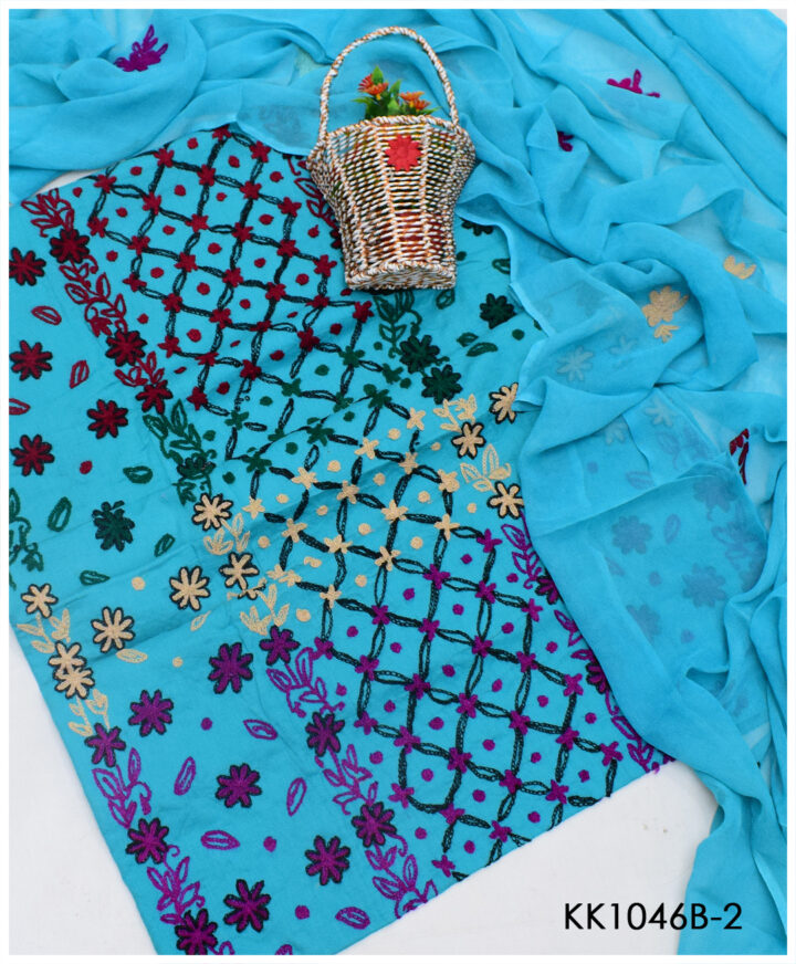 3 PCs Lawn Aari Embroidery Un-Stitched Suits With Chiffon Dupatta - KK1046