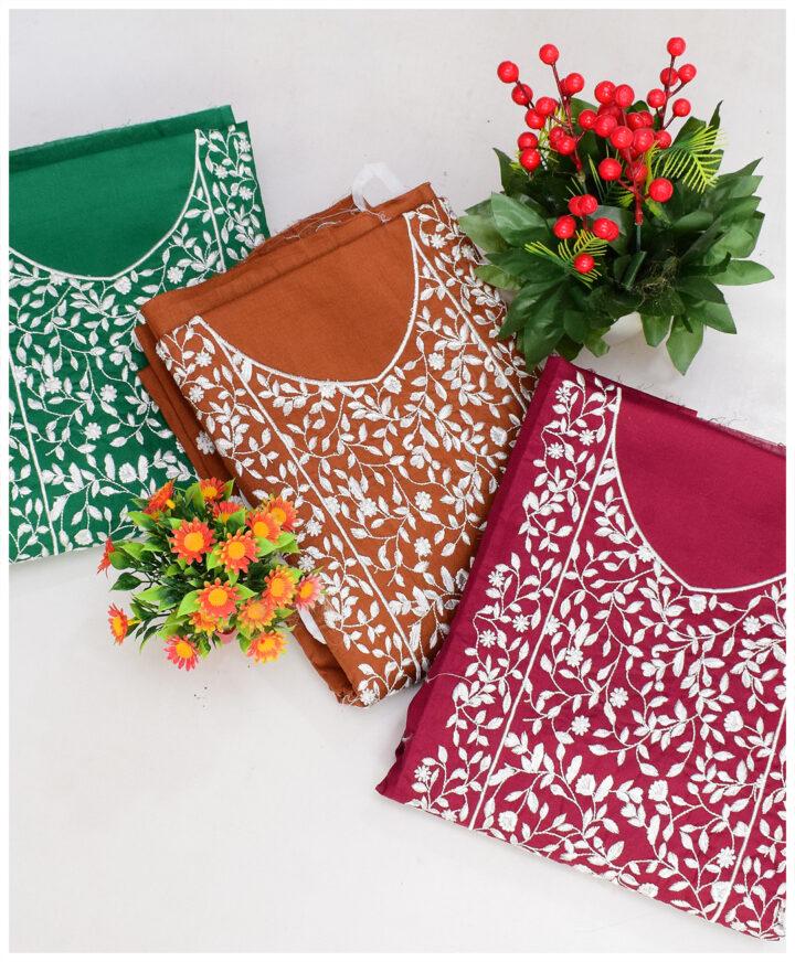 3 PCs Lawn Machine Embroidered Suits With Chiffon Dupatta - KK51Ba