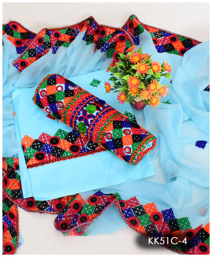 3 PCs Heavy Embroidered Balochi Work Suits With 4 Side Embroidered Dupatta - KK51C