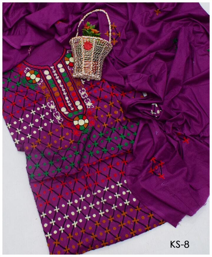 3 PCs Lawn Aari Jaal Embroidery Un-Stitched Suits With Chiffon Dupatta - KS-8