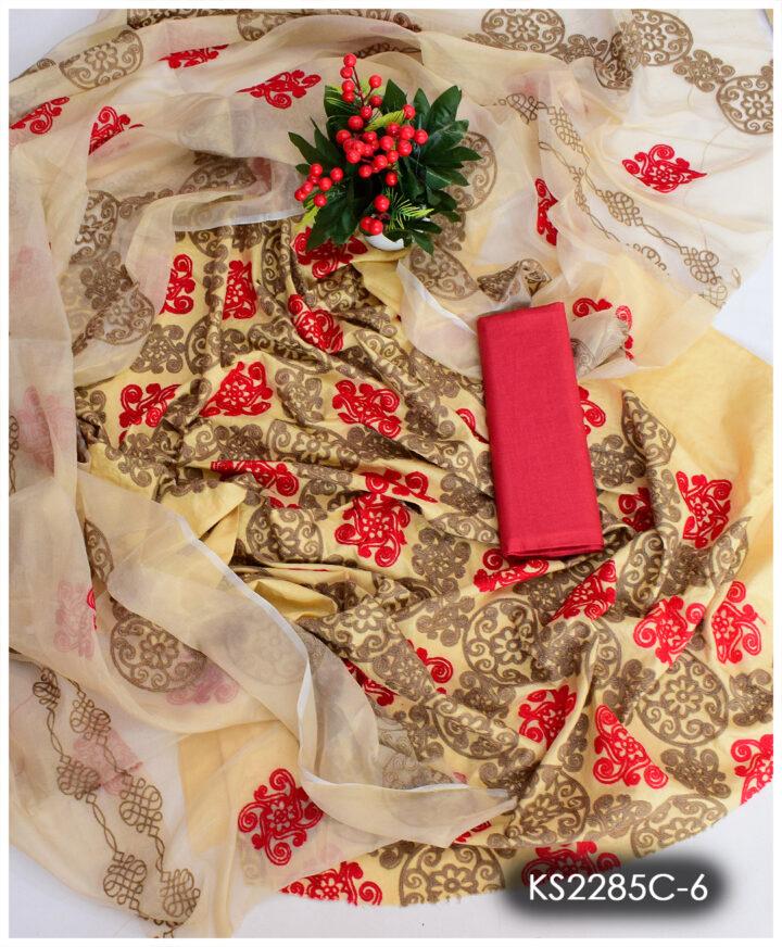 3 PCs Lawn Machine Embroidery Suits With Chiffon Dupatta - KS2285C6