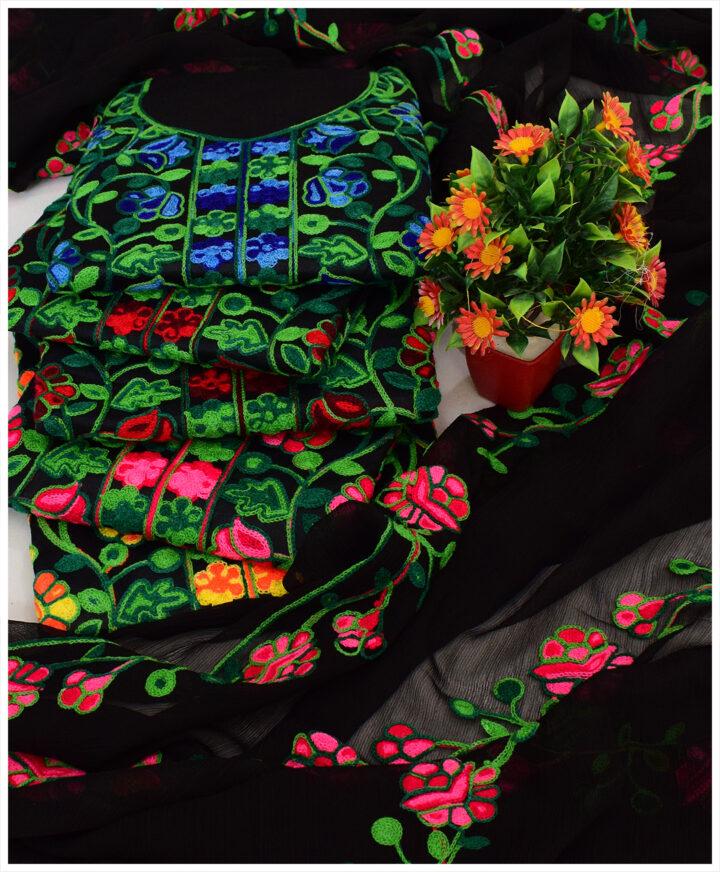 3 PCs Un-Stitched Machine Aari Embroidery Suits With Chiffon Dupatta - KS2285D