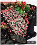 3 PCs Black Un-Stitched Lawn Neck Embroidery Printed Suits With Lawn Dupatta - KS2285E