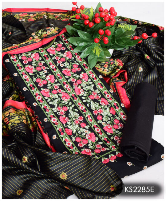 3 PCs Black Un-Stitched Lawn Neck Embroidery Printed Suits With Lawn Dupatta – KS2285E