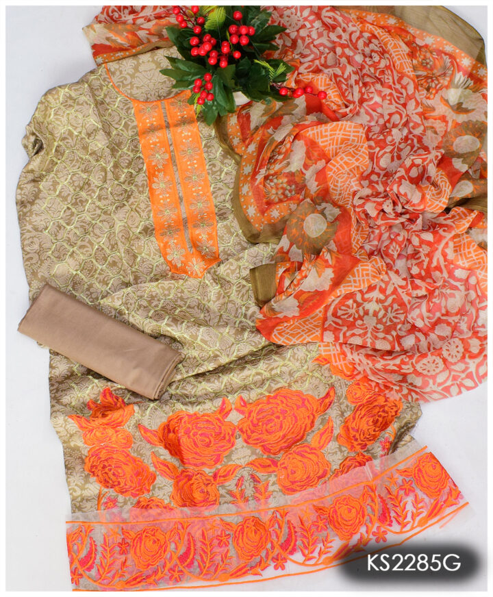 3 PCs Printed Lawn Neck Embroidered and Daman Patch With Printed Chiffon Dupatta - KS2285G
