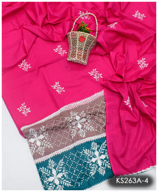 3 PCs Lawn Hand Embroidered Suit With Lawn Dupatta - KS263