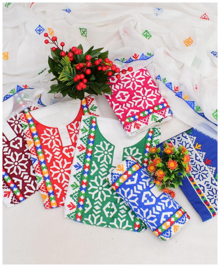 3 PCs White Multi Color Computer Applique Embroidery Un-Stitched Lawn Suits With Chiffon Dupatta - KS2960C