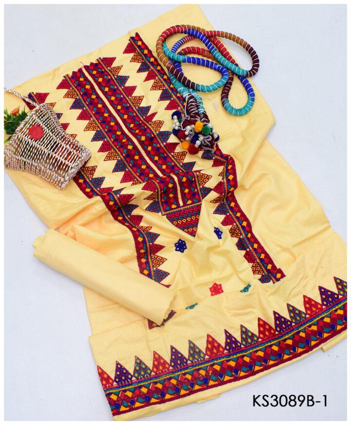 3 PCs Lawn Aari Embroidery Suit With Chiffon Chunri Dupatta - KS3089B