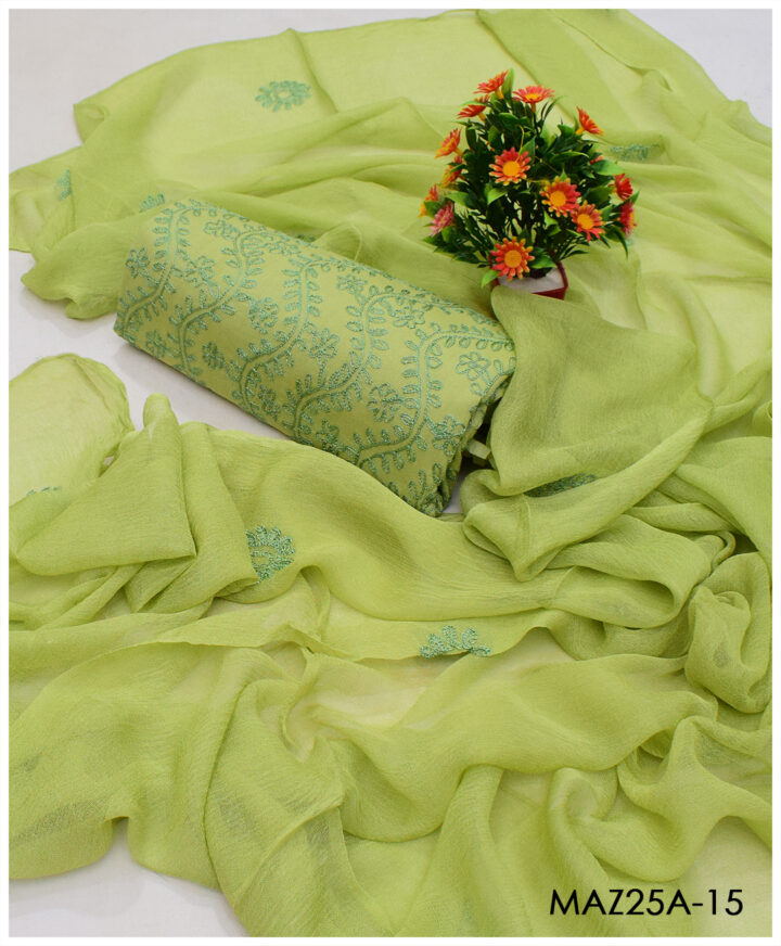 Lawn 3 PCs Hand Embroidered Suits with Chiffon Dupatta - MAZ25A