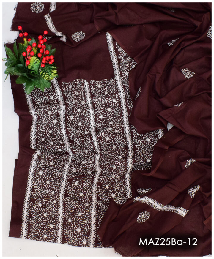 3 PCs Lawn Un-Stitched Hand Embroidery Shadow Tarkashi Suits With Lawn Dupatta - MAZ25Ba-12