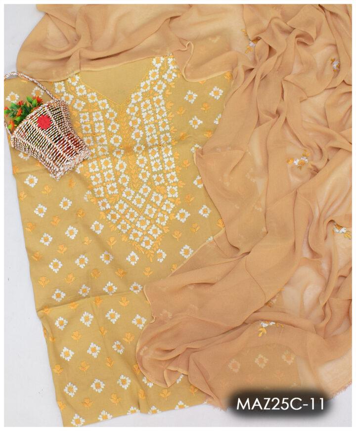 3 PCs Hand Embroidered Pakka Work Un-Stitched Lawn Suits With Chiffon Dupatta - MAZ25CA11