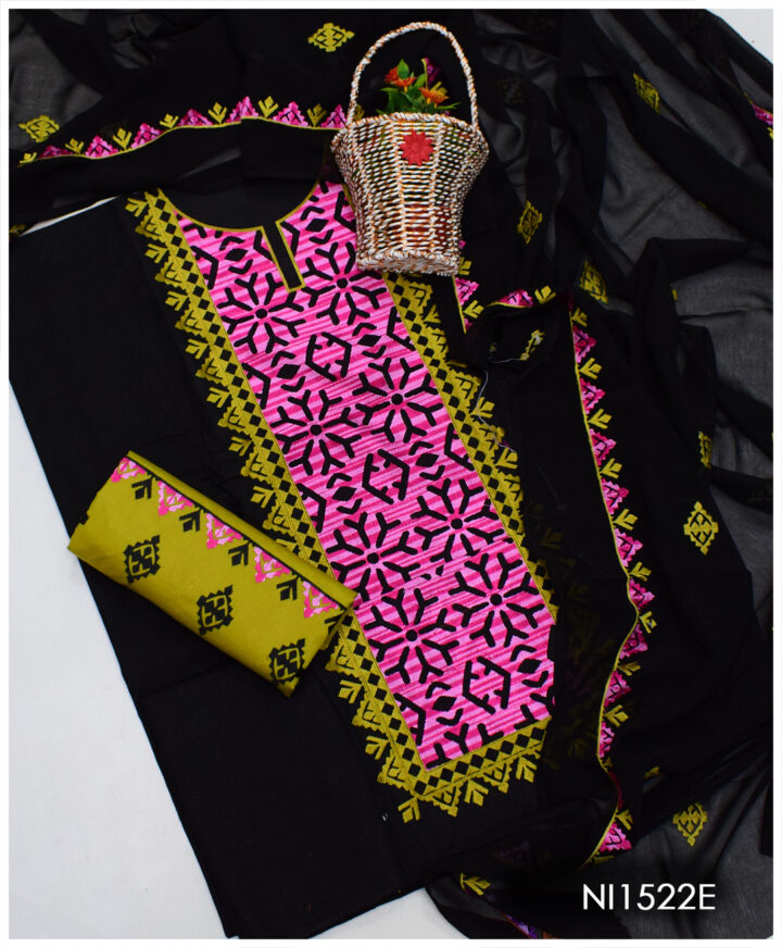 3 PCs Un-Stitched Ladies Computer Embroidered Applique Style Lawn Suit with Chiffon Dupatta - NI1522E