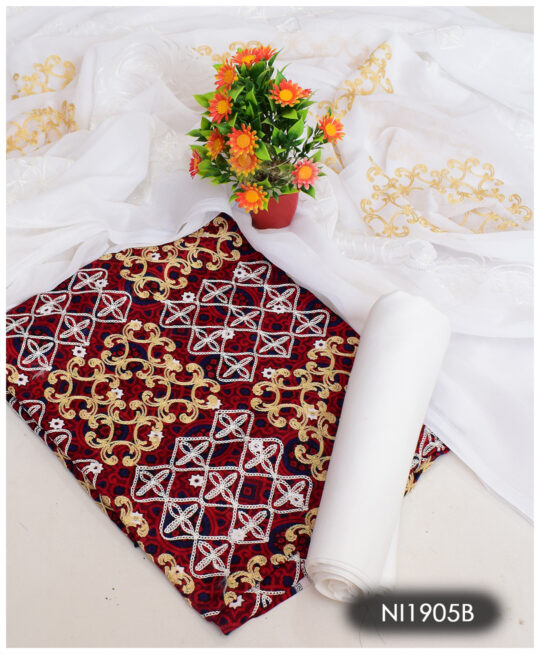 3 PCs Aari Embroidery Un-Stitched Lawn Ajrak Suits With Chiffon Dupatta - NI1905B