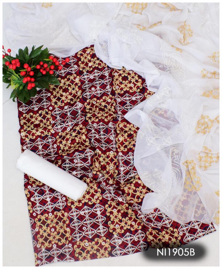 3 PCs Aari Embroidery Un-Stitched Lawn Ajrak Suits With Chiffon Dupatta - NI1905B