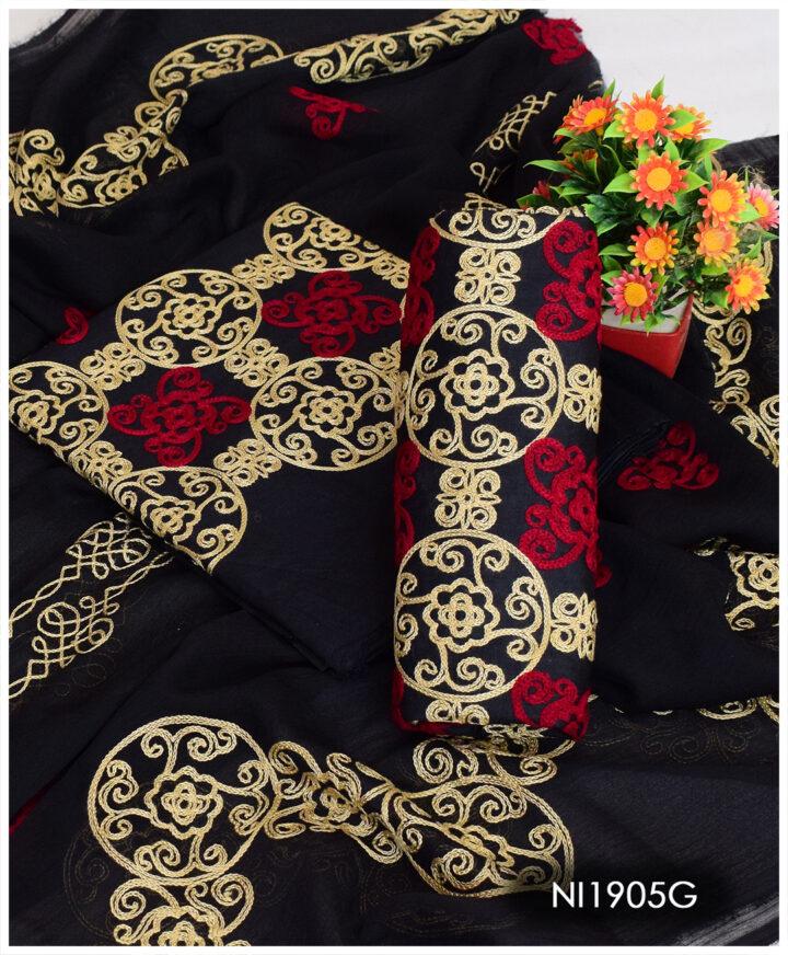 3 PCs Un-Stitched Lawn Aari Work Jaal Suits With Chiffon Dupatta - NI1905G