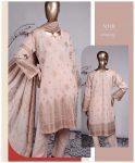 3 PCs Jackuard Lawn Banarai Un-Stitched Dress - NJ-01