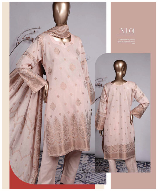 3 PCs Jackuard Lawn Banarai Un-Stitched Dress - NJ-01