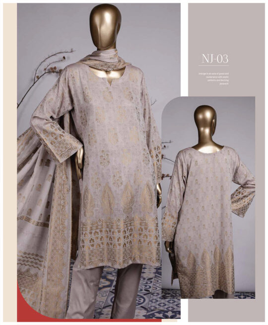 3 PCs Jackuard Lawn Banarai Un-Stitched Dress - NJ-03