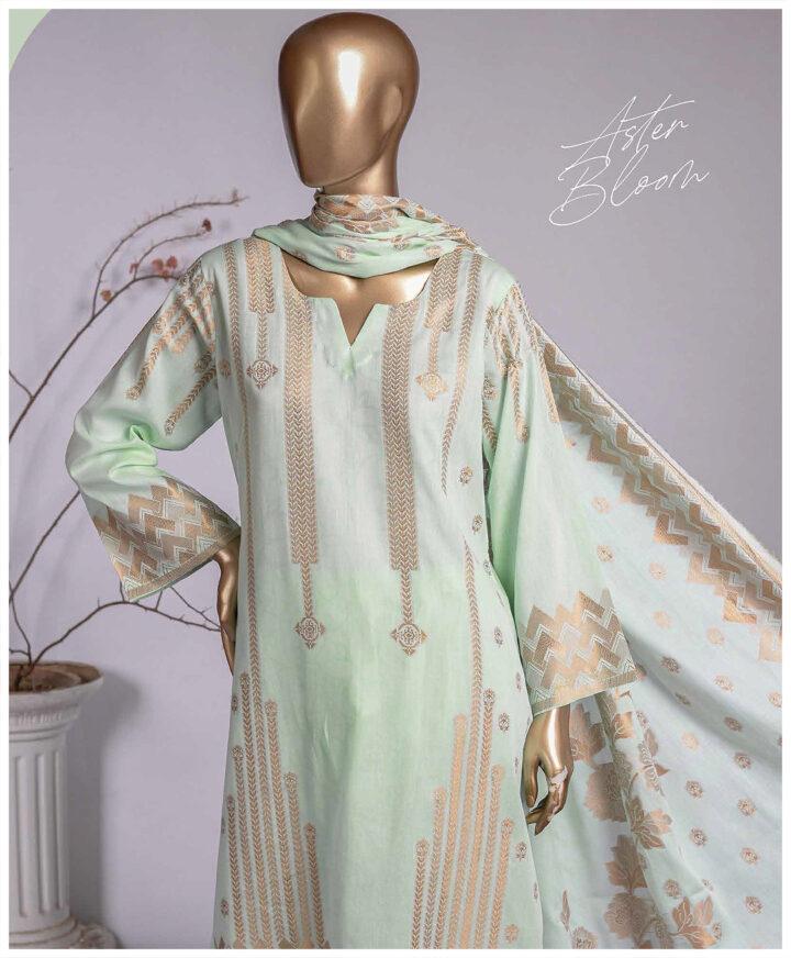 3 PCs Jackuard Lawn Banarai Un-Stitched Dress - NJ-05