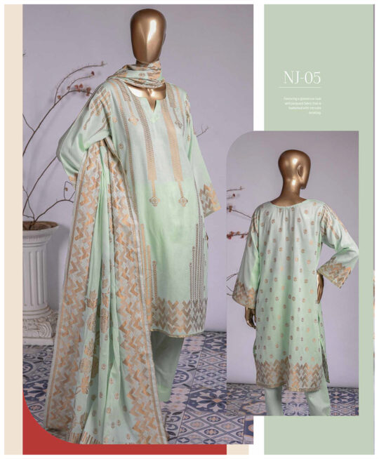 3 PCs Jackuard Lawn Banarai Un-Stitched Dress - NJ-05