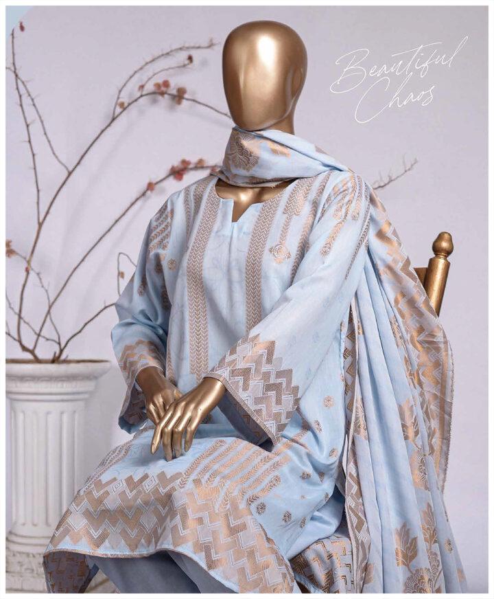 3 PCs Jackuard Lawn Banarai Un-Stitched Dress - NJ-06