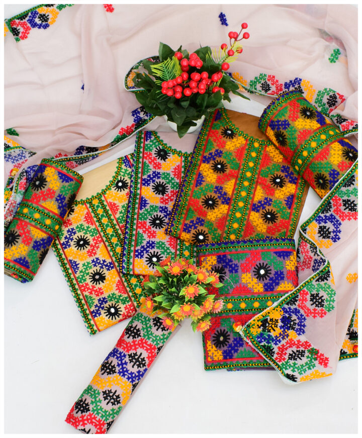 3 PCs Heavy Embroidered Traditional Balochi Work Suits With 4 Side Embroidered Dupatta - NI1902D