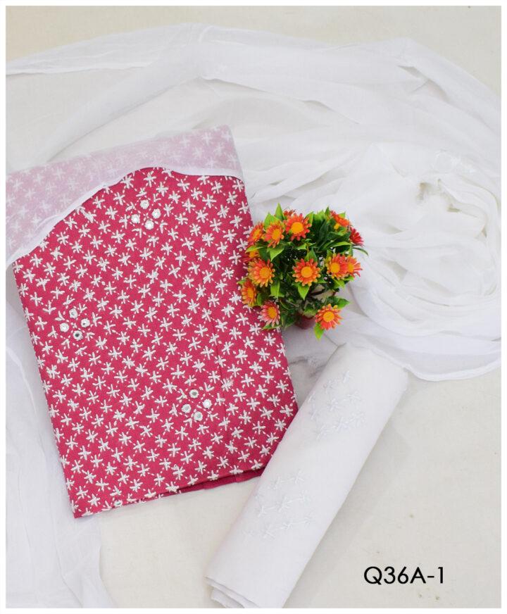 3 PCs Un-Stitched Chawal Sheesha Work Hand Embroidery Suits With Chiffon Dupatta - Q36A1