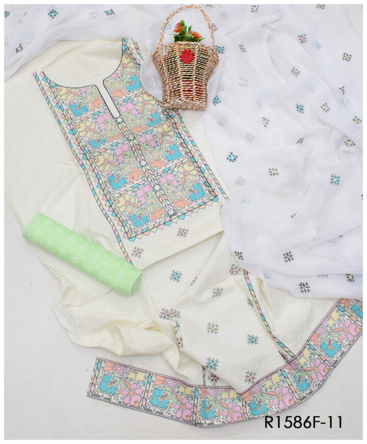 Fancy Embroidery on Lawn 3 PCs Ladies Un-Stitched Suit With Chiffon Dupatta - R1586F