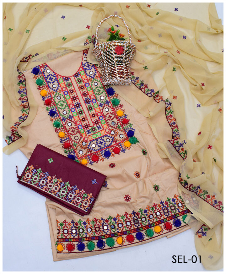 Lawn Sindhi Embroidery 3 PCs Un-Stitched Suit with Chiffon Dupatta - SEL-01