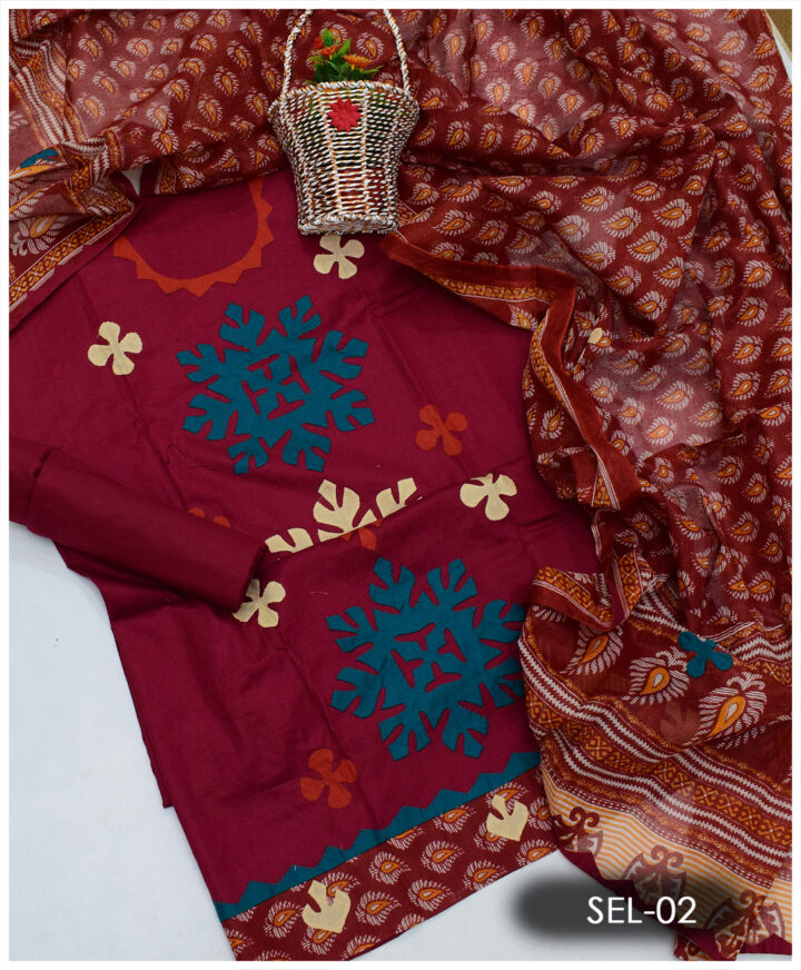 Hand Made Applique Work on Lawn 3 PCs Suit With Khadi Dupatta - SEL-02