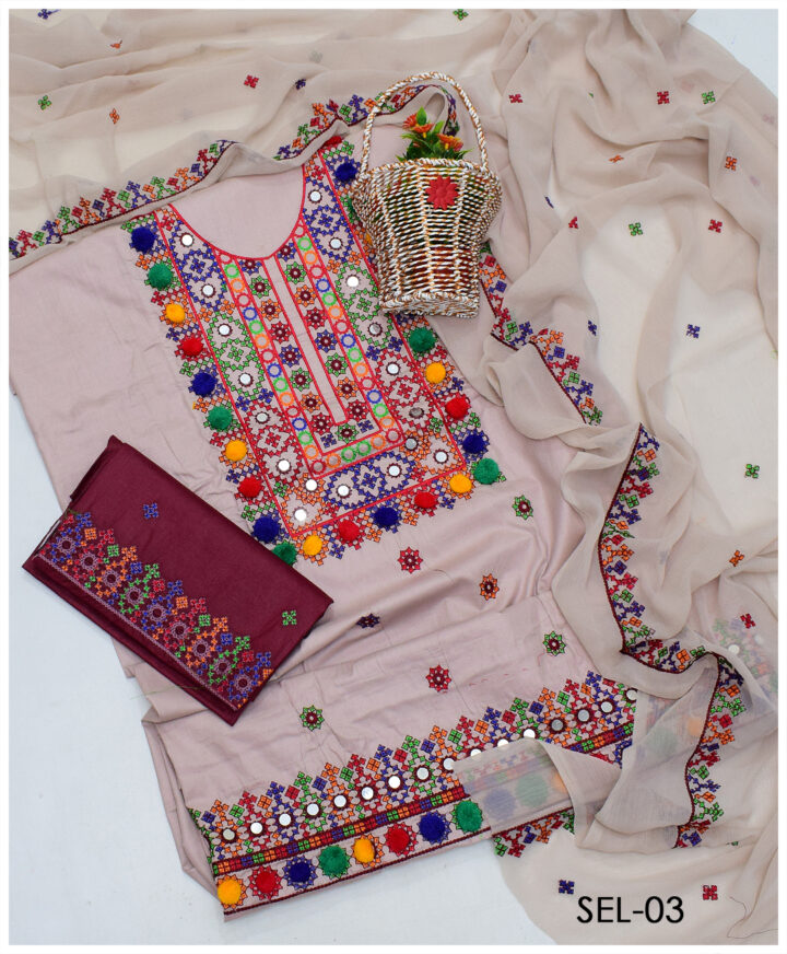 Lawn Sindhi Embroidery 3 PCs Un-Stitched Suit with Chiffon Dupatta & Contrast Shalwaar - SEL-03