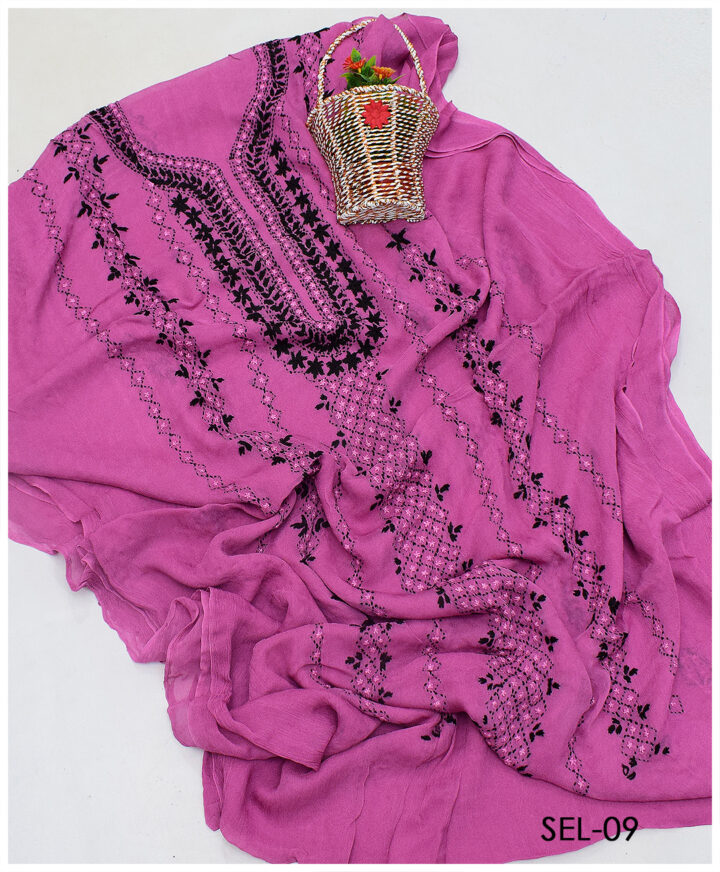 Chiffon 2 PCs Hand Embroidered Shirt and Dupatta - SEL-09