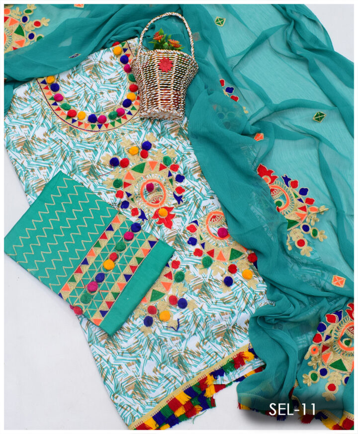 3 PCs Printed Lawn Aari Ball Embroidery Suit With Chiffon Dupatta - SEL-11