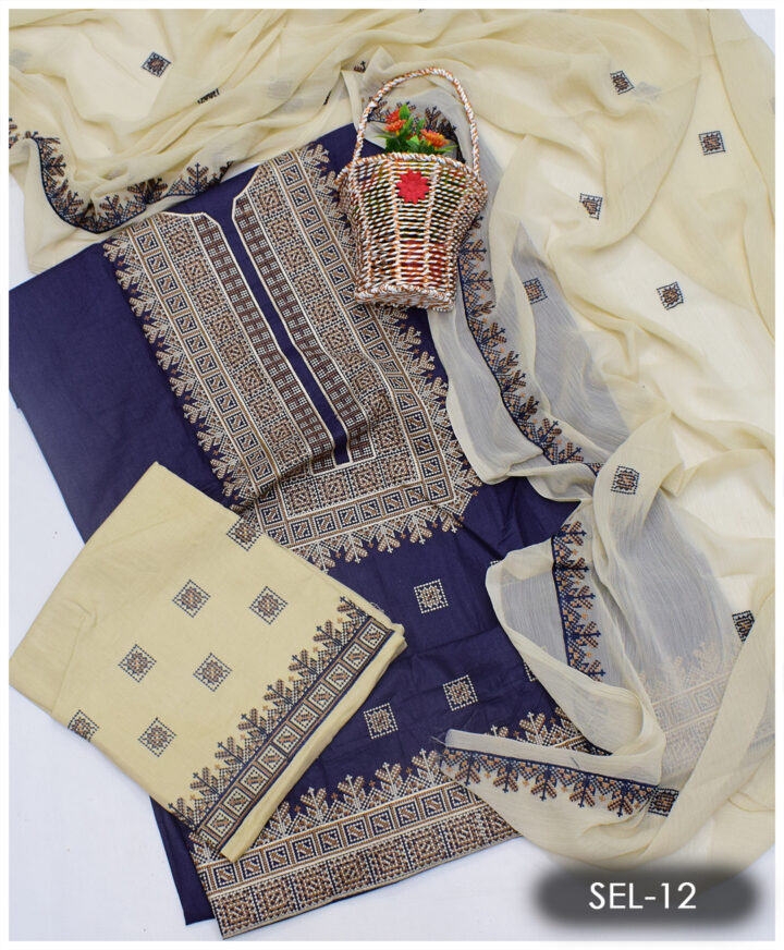 3 PCs Lawn Cross-Stitch Embroidery Suit With Chiffon Dupatta - SEL-12