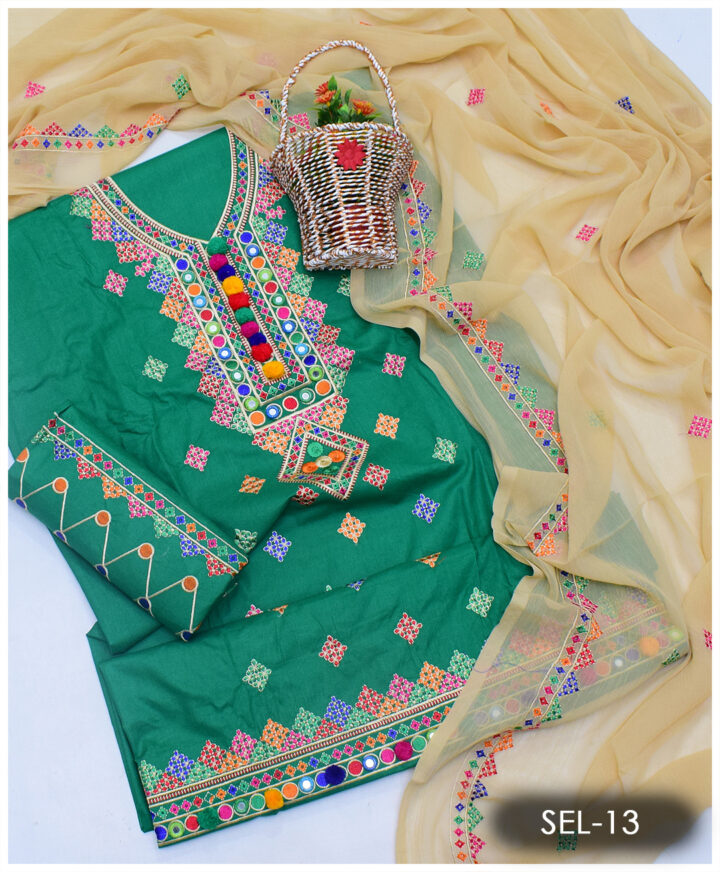 3 PCs Un-Stitched Machine Embroidered Lawn Suit With Chiffon Dupatta - SEL-13