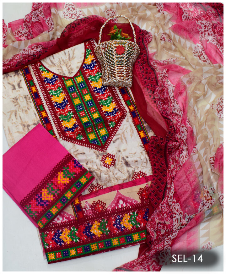 3 PCs Printed Lawn Machine Embroidered Suit With Chiffon Dupatta - SEL-14