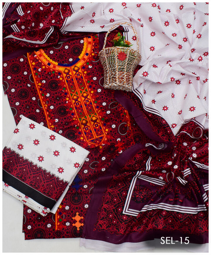 3 PCs Ajrak Lawn Embroidered Suit With Lawn Dupatta - SEL-15