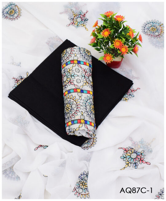 3 PCs Lawn Embroidered Un-Stitched Suits With Chiffon Dupatta-AQ87C