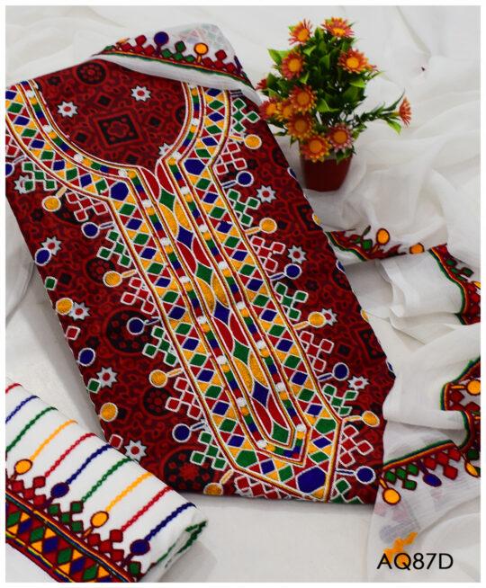 3 PCs Lawn Ajrak Aari Embroidery Un-Stitched Ladies Suit With Chiffon Dupatta - AQ87D