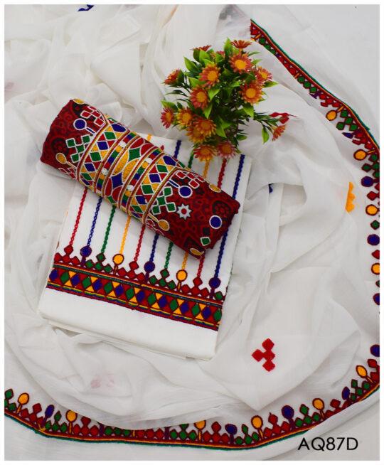 3 PCs Lawn Ajrak Aari Embroidery Un-Stitched Ladies Suit With Chiffon Dupatta – AQ87D