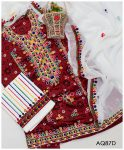 3 PCs Lawn Ajrak Aari Embroidery Un-Stitched Ladies Suit With Chiffon Dupatta - AQ87D