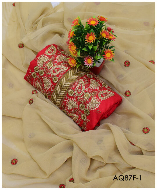 3 PCs Beautifully Machine Embroidered Un-Stitched Cotton Lawn Suits With Chiffon Dupatta - AQ87F