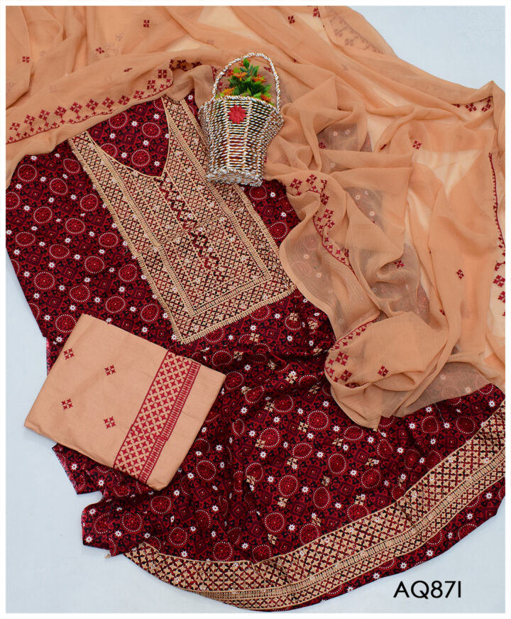 3 PC Ajrak Lawn Embroidered Un-Stitched Suits with Chiffon Dupatta - AQ87I