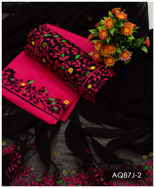 3 PCs Lawn Bareeze Jaal Embroidery Suits With Chiffon Dupatta – AQ87J