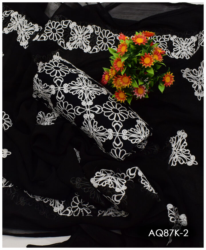 3 PC Cotton Lawn Black & White Embroidered Suits with Chiffon Dupatta - AQ87K