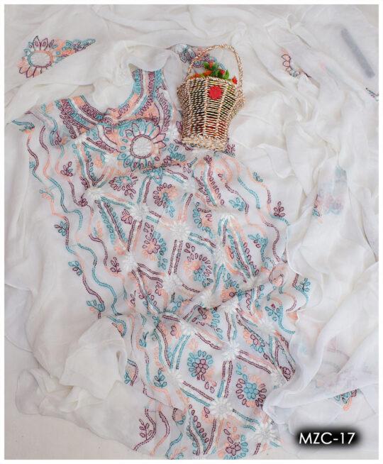 Hand Embroidery Shadow Pakka Work Chiffon 2 PC Shirt and Dupatta - MZC-17