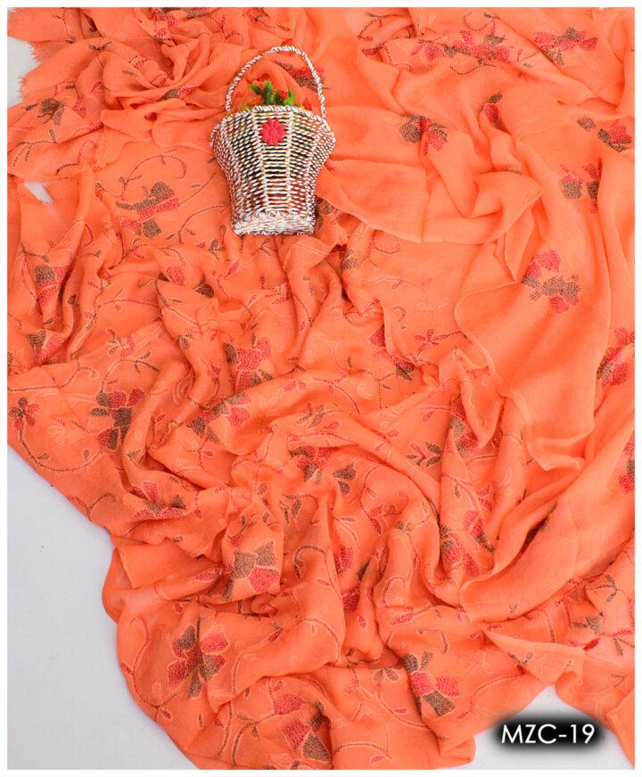 Aar Kacha Work Un-Stitched Chiffon Shirt and Dupatta - MZC-19
