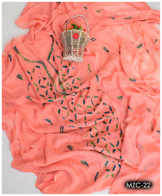 Pakka Shadow Work 2 PC Chiffon Hand Embroidered Un-Stitched Shirt and Dupatta – MZC-22