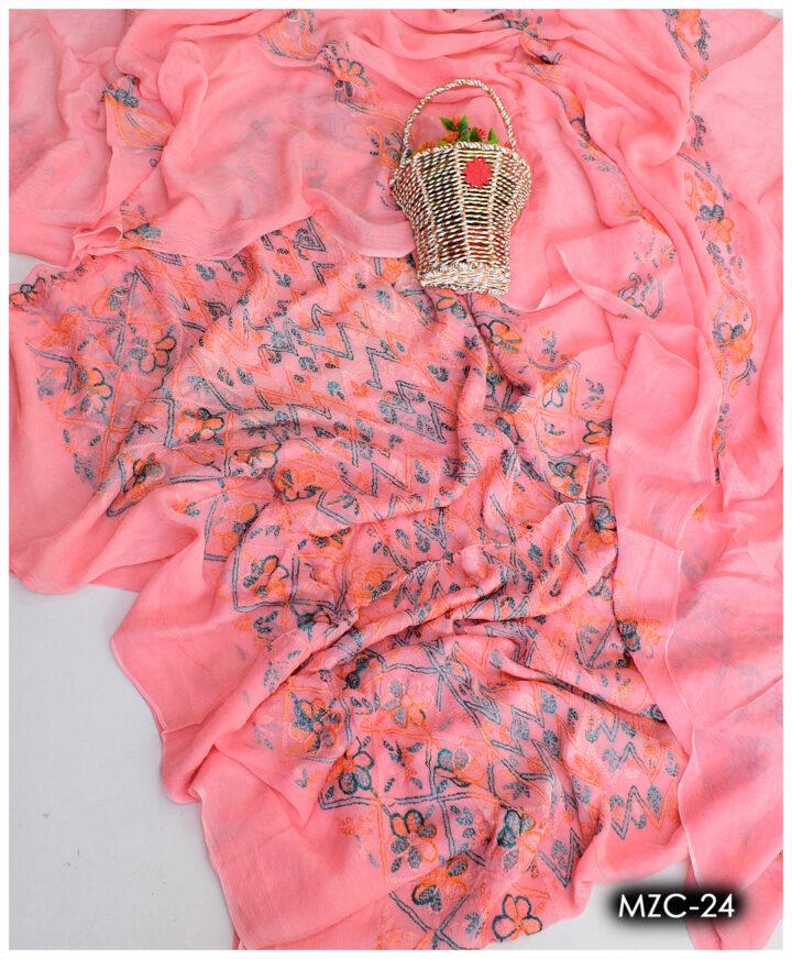 Chiffon 2 PCs Hand Embroidered Kacha Pakka Work Un-Stitched Shirt and Dupatta - MZC-24